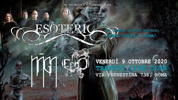 Esoteric + guest @Traffic Live – Roma, 09 ottobre 2020